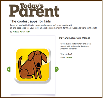 Today's Parent - coolest apps for kids - march 2013
